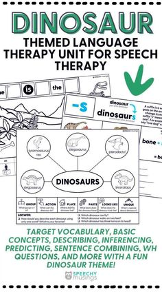 Looking for a unique and engaging way to shake up your speech therapy sessions? This Dinosaur themed language therapy unit for speech therapy is what you need! This speech therapy activity resource targets a variety of topics including vocabulary, basic concepts, describing, inferencing, predicting, sentence combining, wh questions, and more with a fun dinosaur theme! Receptive Language, Speech And Language, Speech Therapy Activities, Language Activities, Figurative Language Activity, Group Action, Wh Questions, Shake, Vocabulary