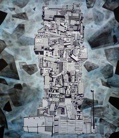Francois Pretorius - Deconstructivist Shanti Tower (2015) #art #illustration #drawing #sketch #ink #abstract #african
