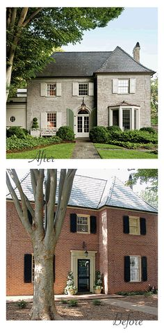 "Modernized Georgian, Before & After: The red brick was hard and lifeless before. A limewash (a mixture of slaked lime and water that, as it dries, reacts with carbon dioxide in the air, carbonating and creating a tough ""rock"" like coating) was used to soften the harsh brick color. The shutters and trim are painted in Pratt & Lambert's Lambswool. This new creamy color scheme makes the home's original (and much envied) Buckingham gray slate roof stand out. - Southern Living, March 2013"