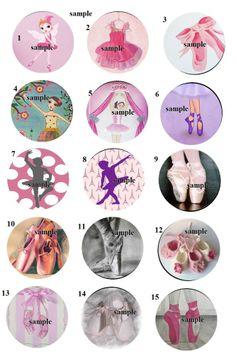 ballerina Dance 30 Precut Bottlecaps Images 1 inch Circle scrapbook birthday