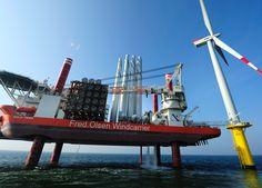Bold Tern Jack-Up Vessel Installing Siemens Turbine at Riffgat Offshore Wind Farm (Courtesy EWE).