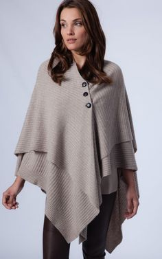 7a5869457f2d99 Cashmere blend poncho with buttons by REPEAT Winter Cape, Ladies Poncho,  Cashmere Poncho,