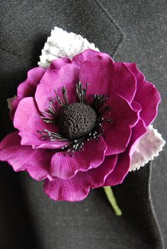 Anemone Boutonniere, J baron what If we did this with a white/ivory one and gold leaves?