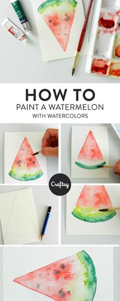 Watercolor Watermelon: 4 Steps to Painting a Slice of Summer Paint a slice of s.Watercolor Watermelon: 4 Steps to Painting a Slice of Summer Paint a slice of s . Watercolor Watermelon: 4 Steps to Paint a Su# Paint Watercolor Painting Techniques, Watercolour Tutorials, Painting & Drawing, Watercolour Painting Easy, Watercolour Step By Step, Simple Watercolor, Watercolor Tips, Painting Tutorials, Painting Abstract