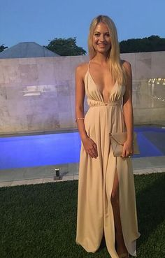 Custom Made Chiffon Prom Dress,Sexy V-Neck Evening Dress,Floor Length Party Gown,Spaghetti Straps Pegeant Dress.Split at lower part of dress