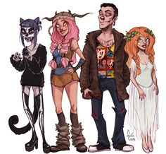 """Off as a sugar skull cat, Anne Marie as a Ruffnut (from """"how to train your dragon"""") G as a Tyler Durden (from Fight Club. he just found that ugry fur coat in second hand and really wanted to wear i..."""