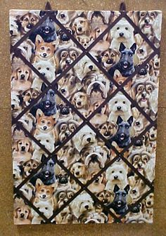 A decorative cork fabric covered bulletin board for all your favorite pet pictures.