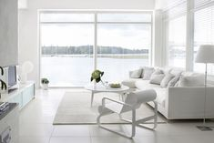 White livingroom by the sea