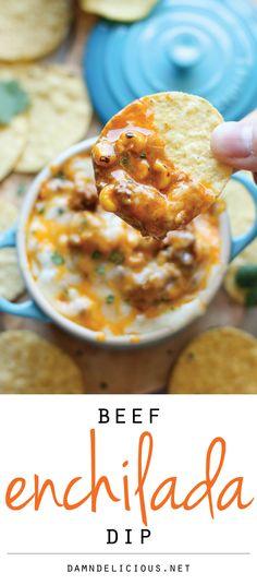 Beef Enchilada Dip #appetizer #gameday
