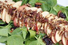 Apple Pecan Spinach Salad with Honey Apple Vinaigrette