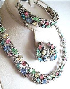 Vintage LISNER Rhinestone Necklace Bracelet Earrings SET Parure