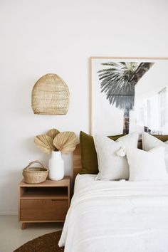 Tropical Hotel Inspired Luxe Bedroom - In this bedroom, our styling team has created a luxe tropical hotel theme using linen from our RAW - Decoration Bedroom, Boho Bedroom Decor, Decoration Design, Bedroom Inspo, Home Bedroom, Summer Bedroom, Bedroom Beach, Home Decoration, Modern Bedroom