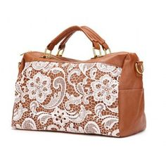 brown camel lace bag
