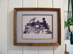 ROMANTIC SILHOUETTE Vintage Framed Cross Stitch on Etsy, $15.00