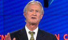 Lincoln Chafee squirms on stage when he is questioned over his first vote in the Senate: Go easy, my dad had just died. (13 October 2015) -- Not another sob story because of questionable actions and decisions! Man up!