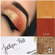 Warm red and gold look JH Morphe palette - Makeup Tutorial African American Morphe Palette, Jaclyn Hill Eyeshadow Palette, Jaclyn Hill Palette, Jacklyn Hill Palette Looks, Makeup For Green Eyes, I Love Makeup, Makeup Inspo, Makeup Looks, Makeup Stuff