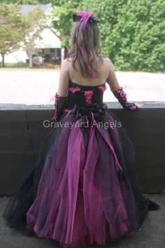 Pink and Black Wedding Dress Gothic Bridal Gown Custom Made to ...