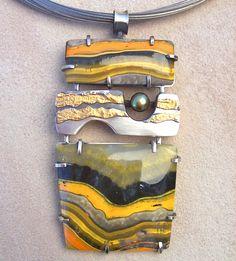 Bumble Bee Jasper Pendant by Leslie Aine McKeown