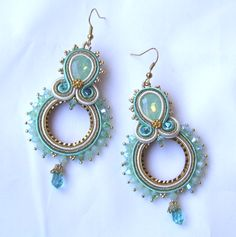 Mint Earrings Mint Gold Dangle Embroidered Soutache Earrings Wedding Gift for… Bead Jewellery, Boho Jewelry, Jewelery, Jewelry Design, Mint Earrings, Beaded Earrings, Handmade Beaded Jewelry, Handmade Necklaces, Soutache Pattern