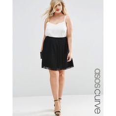 ASOS CURVE Pleated Lace Mini Skirt (140 ILS) ❤ liked on Polyvore featuring skirts, mini skirts, black, plus size, pleated miniskirt, short floral skirt, pleated skirt, floral mini skirt and short lace skirt