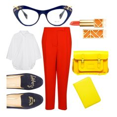 Bright coloured look ft Miu Miu glasses from Pretavoir Miu Miu Glasses, Color Pop, Colour, Third Way, Office Style, Office Fashion, Preppy, Bright, How To Wear
