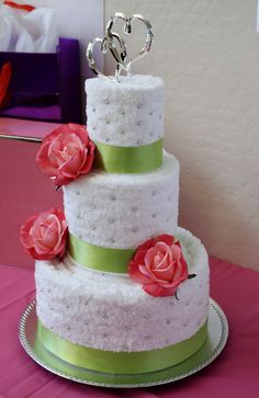 bridal shower towel cake with green ribbon borders