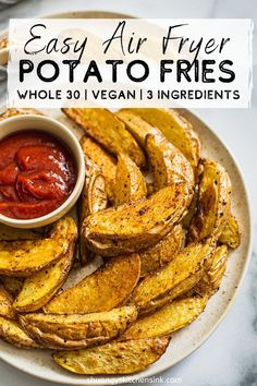 These quick and easy Air Fryer Potato fries are seasoned with Trader Joe's 21 Seasoning. They are crispy on the outside, soft on the inside. Easy Clean Eating Recipes, Vegan Recipes Easy, Real Food Recipes, Vegan Desserts, Air Fry Potatoes, Fried Potatoes, Healthy Fries, Healthy Snacks, Healthy Side Dishes