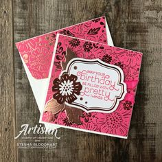 Everything is Rosy Product Medley Presentation Sample - Card Presentation Sample, Everything's Rosie, Gold Foil Paper, Mary Fish, Stampin Pretty, Beautiful Handmade Cards, Stamping Up Cards, Flower Cards, Paper Design