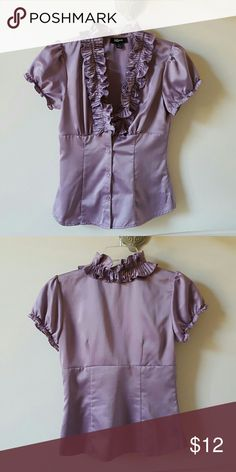 Ruffle neck Blouse Cap short sleeve, ruffle neck, button down blouse. Like new, worn once. Iz Byer Tops Blouses