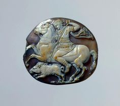 Alexander the Great Hunting a Wild Boar. Place of creation: Ancient Rome. Date: 1st century. Material: sardonyx. Technique: cameo.