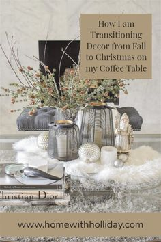 Winter decor on a coffee table Winter Christmas, Christmas Ideas, Christmas Decorations, Table Decorations, Holiday Decor, Home Decor Inspiration, Decor Ideas, Coffee Table Styling, Christmas Table Settings