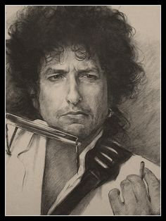 Charcoal Portraits Bob Dylan by byard