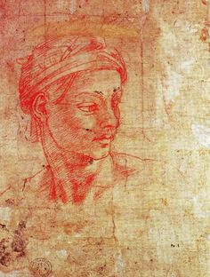 Michelangelo (1475-1564) ~ Red chalk head, c.1511, British Museum, London. This beautifully drawn study of a head is possibly a preparatory Michelangelo drawing for one of the many ignudi on the Sistine Chapel ceiling. AT