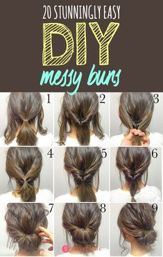 20 Stunningly Easy DIY Messy Buns: The best part about the messy bun is that it gives you the perfect I-just-got-up-and-I-look-this-awesome look in under 5 minutes! Read on to pick your favorite messy bun. for short hair 20 Stunningly Easy DIY Messy Buns Medium Hair Styles, Curly Hair Styles, Easy Updos For Medium Hair, Simple Hair Updos, Medium Length Hair Updos, Updos For Medium Length Hair Tutorial, Easy Updo For Work, Up Dos Easy, Work Updo