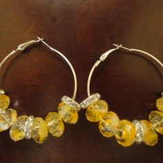 Yellow Jewel Hoops