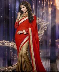 Picture of Divine Red And Destured Orange Party Wear Sarees