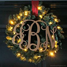 DIY Christmas Wreath Ideas: Holiday Glam Monogram