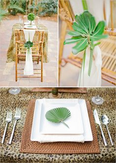 Simple safari, animal print & zoo wedding place setting.