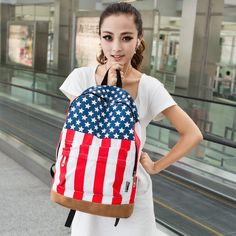 USA Stars And Stripes/England Union Jack Canvas Travel Backpack