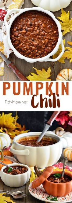 Pumpkin Chili is extra hearty with a delicious sweetness and earthy undertone that takes chili to a whole new level of good.  The perfect way to knock off the chill and satisfy hungry bellies. Chili recipe + video at TidyMom.net Chili Recipes, Slow Cooker Recipes, Crockpot Recipes, Cooking Recipes, Healthy Recipes, Chili Recipe With V8, Chili Recipe Video, Cooking Kale, Thanksgiving Recipes