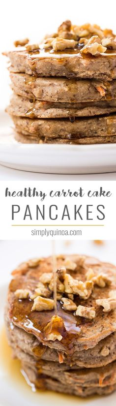 These HEALTHY Carrot Cake Pancakes are packed with nutritious ingredients like quinoa, almond, flax and coconut! The perfect way to kickstart your day! fast metabolism mug cake Healthy Breakfast Recipes, Brunch Recipes, Healthy Eating, Pancake Recipes, Vegan Breakfast, Clean Eating, Healthy Breakfasts, Breakfast Ideas, Healthy Food