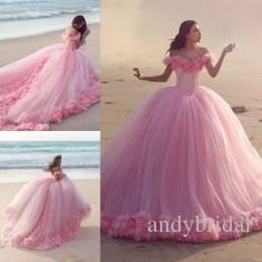 2016 Quinceanera Dresses Baby Pink Ball Gowns Off The Shoulder Corset Hot Selling Sweet 16 Prom Dresses With Hand Made Flowers Black Tie Dresses Chiffon Dresses From Andybridal, $201.05| Dhgate.Com