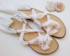 leather sandals with white lace straps bridal by GreekSandalShop