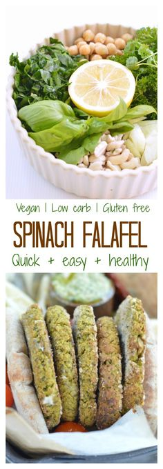 Easy Spinach Falafel ready in 10 min in a food processor. Vegan & low carb g … Easy Spinach Falafel ready in 10 min in a food processor. Vegan & low carb g net carb per falafel) 5 g protein and only wholesome ingredients. Perfect to include in your c Falafel Vegan, Falafel Recipe, Baked Falafel, Spinach Recipes, Vegetarian Recipes, Healthy Recipes, Vegetarian Breakfast, Mexican Recipes, Breakfast Recipes