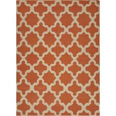 Check out the Jaipur RUG10280 Maroc Flat-Weave Moroccan Pattern Wool Orange/Ivory Area Rug