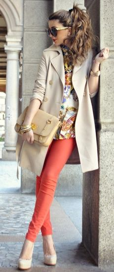 the color of the pants with the blouse, could also work with nuetral blouse and a pattern scarf