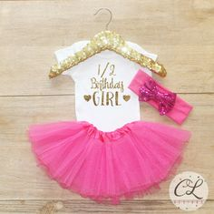 Half Birthday Tutu Outfit / Baby Girl Clothes 1/2 Birthday Outfit Half Birthday Set 1/2 Birthday Girl Outfit 6 Month Gift Tutu Bow Set 046 by CourtneyLeighPrints on Etsy https://www.etsy.com/listing/386579520/half-birthday-tutu-outfit-baby-girl