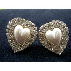 Large Rhinestone Heart Earrings with Pearly Centers by Xulha, $15.99