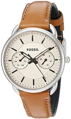 Women's Wrist Watches - Fossil Womens ES3950 Tailor Multifunction Stainless Steel Watch with Leather Band *** Check this awesome product by going to the link at the image.
