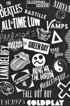 5 seconds of summer, bastille, black, coldplay, green day, indie, iphone wallpaper, lana del rey, music, nirvana, one direction, paramore, ramones, the beatles, the vamps, tumblr, wallpaper